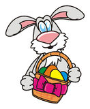 Grey Easter Bunny with Easter basket Royalty Free Stock Photos