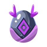 Grey Egg With Purple Horns och fyrkantig garnering, för färgvektor för fantastisk naturlig beståndsdel äggformad ljus symbol stock illustrationer