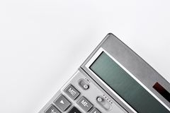 Grey electronic calculator, cropped image. Royalty Free Stock Photography