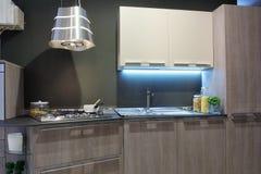 Grey elegant kitchen Stock Photos