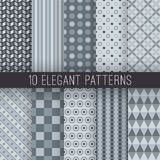 Grey elegant seamless patterns. Vector. 10 Grey elegant seamless patterns. Vector illustration for stylish design. Shades of grey color. Endless texture can be Royalty Free Stock Photo