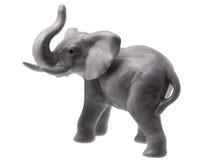 Grey Elephant Figure su bianco Immagine Stock