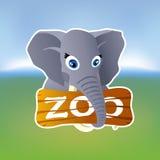 Grey elephant holding zoo plate Royalty Free Stock Photography