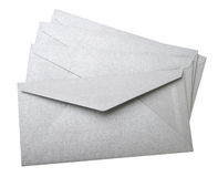 Grey envelopes on white background Stock Photo