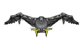 Grey falcon flying - 3D render Royalty Free Stock Images