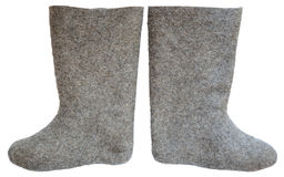 Grey felt boots isolated on a white Royalty Free Stock Images