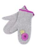 Grey felt mittens Stock Photos
