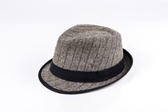 Grey felt trilby/fedora hat Stock Photography
