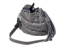 Grey female purse isolated Stock Photos