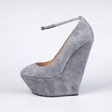 Grey female shoes Royalty Free Stock Photography