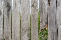 A fence with gaps and broken board Royalty Free Stock Photography