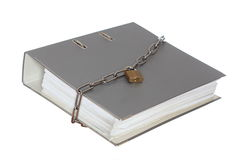 Grey file folder with chain Stock Photography