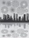 Grey fireworks Stock Image