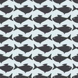 Grey fish opposite background. Seamless background with grey fishes situated opposite one another. For wallpaper, wrapping paper, textile decoration Stock Photos