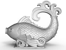 Grey fish ornament / statue. 3D render illustration of a grey fish ornament / statue. The composition is isolated on a white background with shadows and the mesh Stock Image
