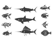 Grey fish silhouettes set Stock Image