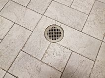 Free Grey Floor Tiles With Metal Drain On Ground Royalty Free Stock Photography - 148270127