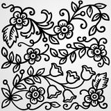 Grey floral background. Black floral patterns on a grey background Stock Images