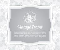 Grey flower card template label on gray rose shape pattern background, vintage design frame border Stock Images