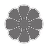 Grey flower icon. Grey eight petal flower flat design icon  illustration Stock Photo