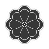 Grey flower icon. Grey eight petal flower flat design icon  illustration Stock Image
