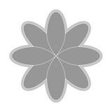 Grey flower icon. Grey eight petal flower flat design icon  illustration Royalty Free Stock Photo