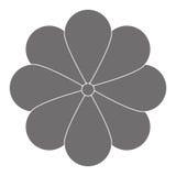 Grey flower icon. Grey eight petal flower flat design icon  illustration Stock Photos