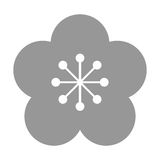 Grey flower icon. Grey five petal flower flat design icon  illustration Stock Image