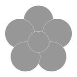 Grey flower icon. Grey five petal flower flat design icon  illustration Stock Images