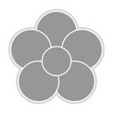 Grey flower icon. Grey five petal flower flat design icon  illustration Royalty Free Stock Photo