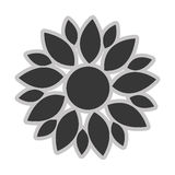 Grey flower icon. Grey multiple different size petal flower flat design icon  illustration Stock Photography