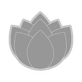Grey flower icon. Grey nine petal flower flat design icon  illustration Royalty Free Stock Photos