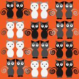 Grey funny cats isolated on orange background. Vector illustration Stock Images