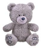 Grey furry teddy bear. Isolated on white background Stock Photos
