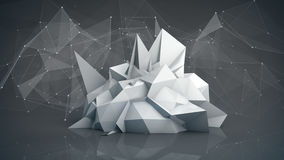 Grey futuristic network shape. Abstract 3d render Royalty Free Stock Photo