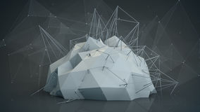Grey futuristic network shape. Abstract 3d render Royalty Free Stock Image