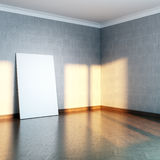 Grey gallery room with blank frame Stock Images