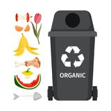Grey garbage can with organic elements. Vector illustration Royalty Free Stock Photos