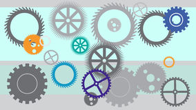 Grey gears background. Blue, green, orange, grey composition. Royalty Free Stock Image