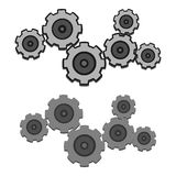 Grey Gears Set With And Without Outline In Two Versions Stock Image
