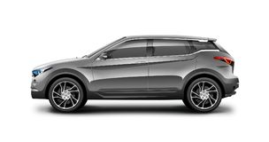 Grey Generic SUV Car On White Background. Side View With Isolated Path stock illustration
