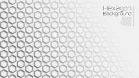 16:9 Grey Geometric Star Hexagon Background léger illustration stock