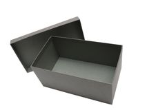 Grey Gift Box Against a white background Stock Photography