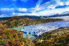 Grey Glacier Patagonia, Chile, Patagonian isfält, Cordillera D Arkivfoton