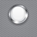 Grey button on carbon texture. Grey glass button isolated on a carbon background Stock Photo