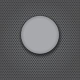 Grey glass button on carbon. Grey glass button isolated on a carbon background stock illustration
