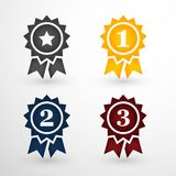 Award Badges Set. Grey Gold Blue and Red Award Badges Set, First Secon Third place Royalty Free Stock Images