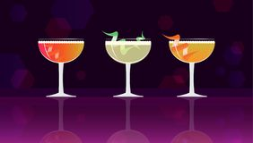 Grey Goose Cherry Noir, Cherry Cosmo Cocktail, Sparkling Apple Sherry Cocktail on black-purple mirrored background. Vector illustration for web and print royalty free illustration