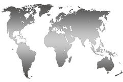 Grey gradient world map, isolated Stock Photos