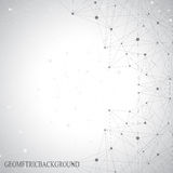 Grey graphic background dots with connections for Stock Photography